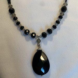 Lia Sophia Black Crystal Necklace